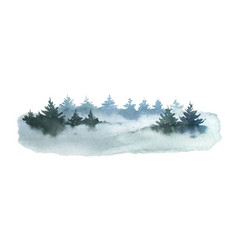 watercolor winter landscape with fir trees vector image