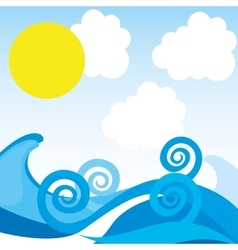 Waves pattern background sea vector