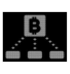 White halftone bitcoin cashout scheme icon vector