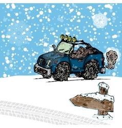 Winter SUV sketch vector