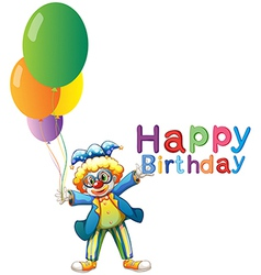 A clown with balloons and a Happy Birthday vector image vector image