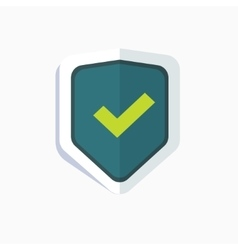 Blue shield with green check mark symbol icon vector image vector image