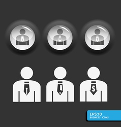 business man icon set in black color vector image vector image
