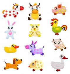 Domestic toy animals vector
