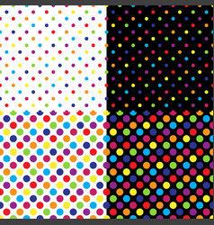 Four different seamless colorful polka dot pattern vector