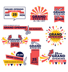 grand opening event icons set for shop or vector image vector image