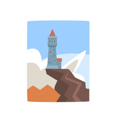 little castle on top of cliff fantasy fortress on vector image