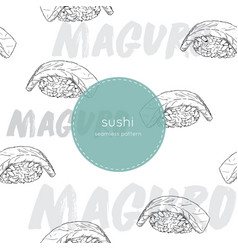 maguro sushi seamless pattern vector image vector image