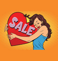 beautiful young woman hugging sale valentine heart vector image vector image