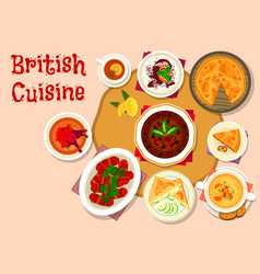 british cuisine lunch dishes icon design vector image vector image