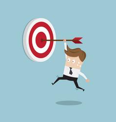 businessman hanging arrow on target vector image