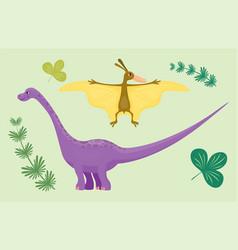 cartoon dinosaur pterodactyl diplodocus vector image