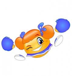 cheerleader emoticon vector image