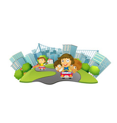 children riding cars in the city park vector image vector image