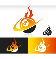 Fire Swoosh Eight Ball Logo Icon vector image vector image