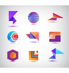 set of abstract origami sphere geometric vector image vector image
