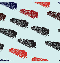 seamless background with old steam locomotives vector image vector image