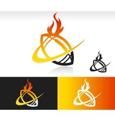 Fire swoosh football logo icon vector
