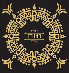 gold mexican tribal frame design - ethno atzec vector image