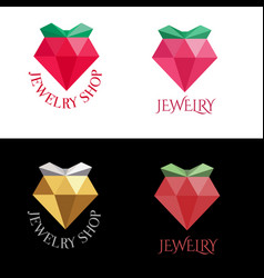 jewelry logo design bright crystal modern flat vector image