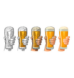 Man hand holding and clinking beer glass vector