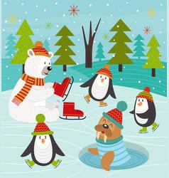 polar animals on rink vector image vector image