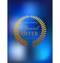 Special offer golden wreath emblem or label vector image