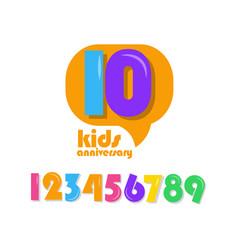 10 years kids anniversary template design vector