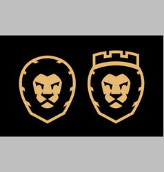 a lion with a crown and without two options a vector image