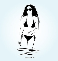 a woman in the water vector image