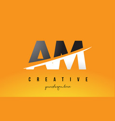 Am a m letter modern logo design with yellow vector
