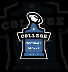 American football college league logo on a dark vector