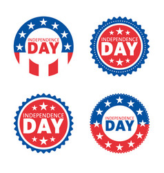 american independence day label design set vector image