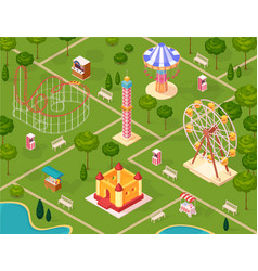 Amusement park isometric seamless pattern vector
