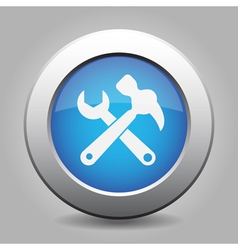Blue button white claw hammer with spanner icon vector