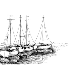 Boats on sea artistic drawing vector image