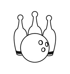Bowling ball and pin game equipment line vector