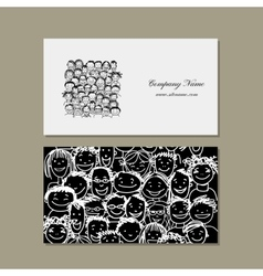 Business cards people crowd for your design vector image