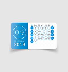 Calendar september 2019 year in paper sticker vector