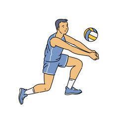 Cartoon man doing bump pass in volleyball - male vector