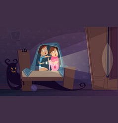 childhood fears kids covered on bed and vector image