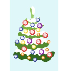 Christmas tree decorated with colored balls with vector