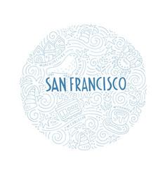 Circle with san francisco symbols vector