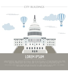 City buildings graphic template white house vector