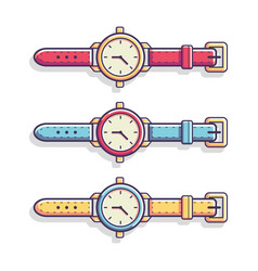 classic casual hand watch flat vector image