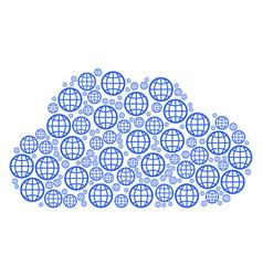 cloud mosaic of globe icons vector image