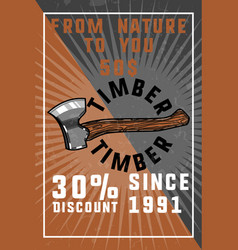 color vintage timber banner vector image