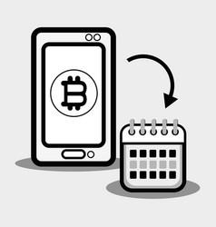 Concept smartphone and calendar bitcoin money vector