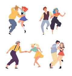 Couples dance twist set vector