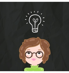 Cute cartoon smart girl and bulb lamp idea vector image